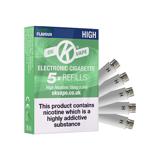 OK Cigalike E-Cig Refills - Menthol Flavour - 18mg High - Pack Image