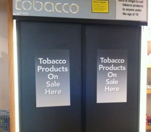 Cigarette display cabinet sliding doors smoking news OK E-Cigs