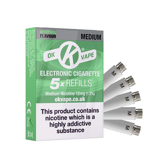 OK Cigalike E-Cig Refills - Menthol Flavour - 12mg Medium - Pack Image