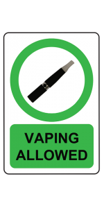 A vaping allowed sign for use in public places