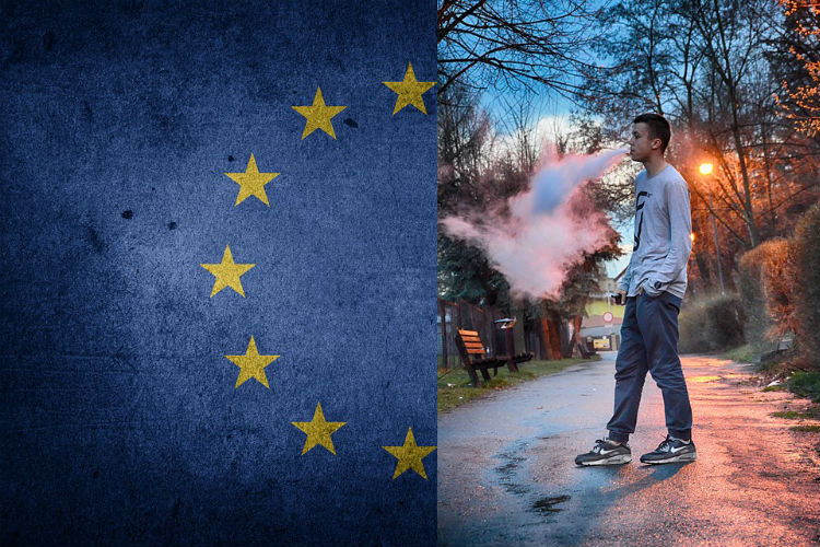 A man vapes in a park with the European Union flag drapped down next to him. Will the e-cig ban on advertising affect his vote?