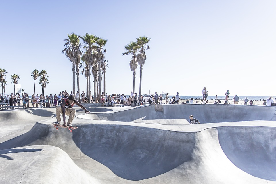 landscape image of skatepark in California.
