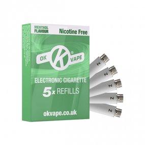 OK Cigalike E-Cig Refills - Menthol Flavour - 0mg Nicotine Free - Pack Image