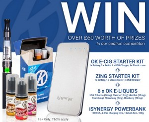 An image of the prize being given away in the #Celebvape competition, including our e-cig starter kits.