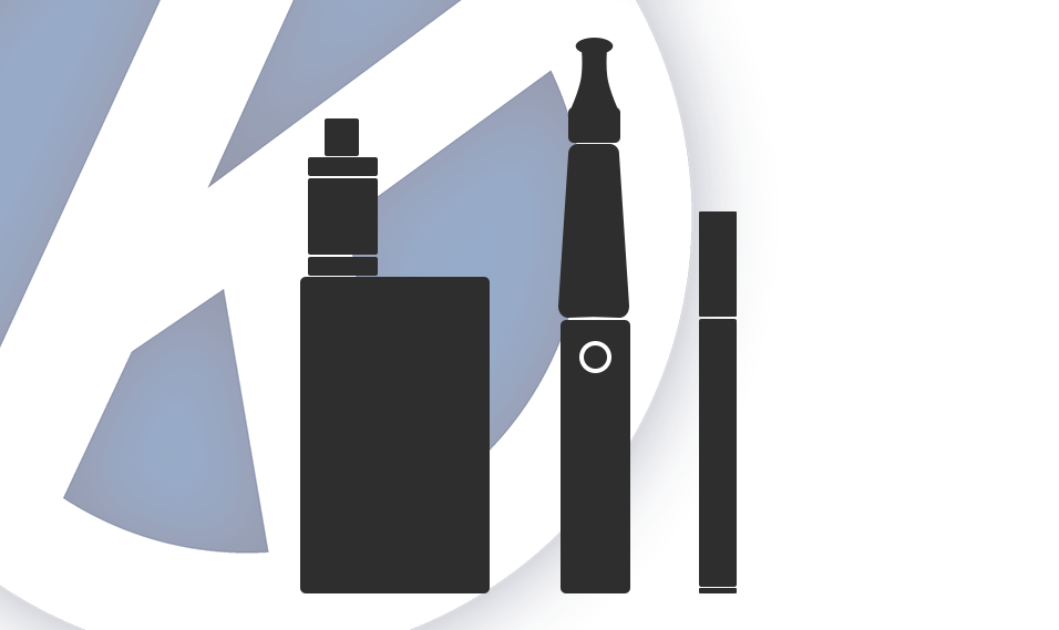 Different types of e cigarette depicted as graphic icons