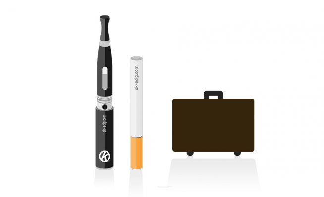 image of cigalike and vape pen e cigarettes with suitcase - travelling with e cigarettes
