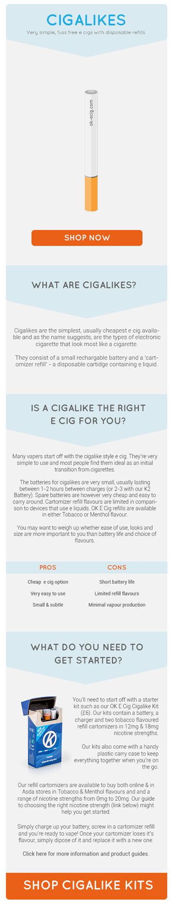 Different types of electronic cigarette - cigalikes description and image