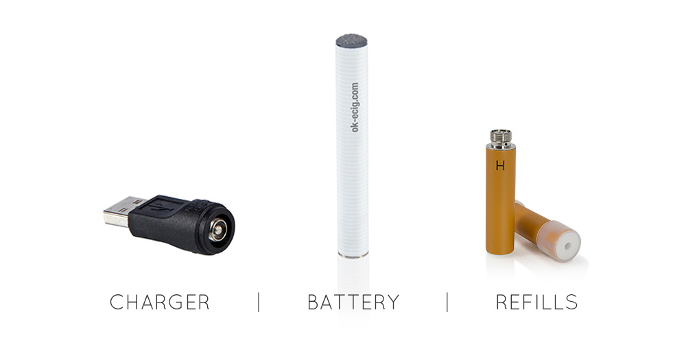 Image of OK E Cig starter kit contents