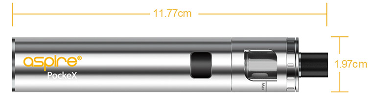 Aspire PockeX Image with dimensions