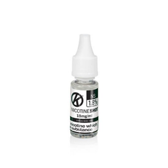 OK Nicotine Shot bottle for use with short fill e liquids. 10ml with 18mg nicotine. nicotine shots