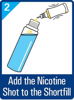 Add the nicotine shot to the short fill