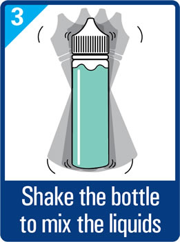 Shake the bottle to mix the liquids