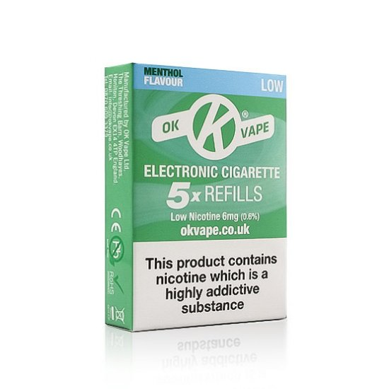 OK Cigalike E-Cig Refills - Menthol Flavour - 6mg Low - Pack Image