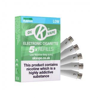 OK Cigalike E-Cig Refills - Menthol Flavour - 6mg Low - Pack Image