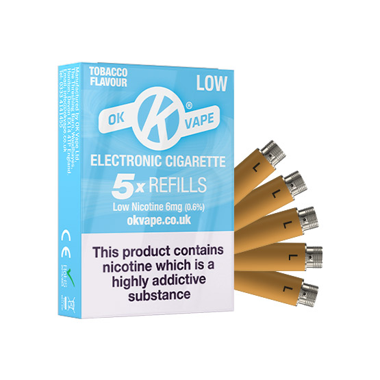 OK Cigalike E-Cig Refills - Tobacco Flavour - 6mg Low - Pack Image