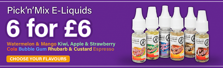 £1 E-Liquids Offer Banner - Six bottles for £6 (Mobile)