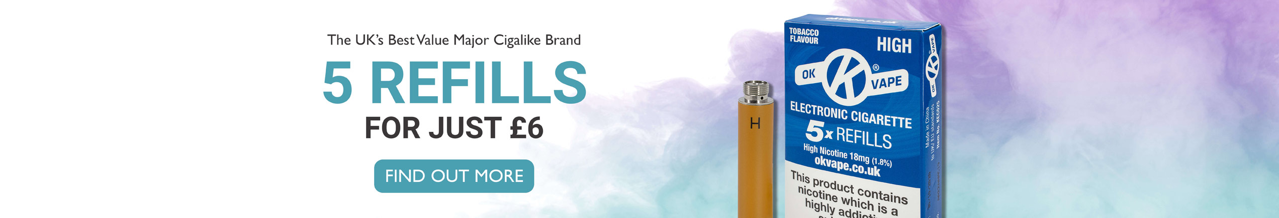 Homepage slider image - The UK's best value major cigalike brand - 5 Refills for just £6