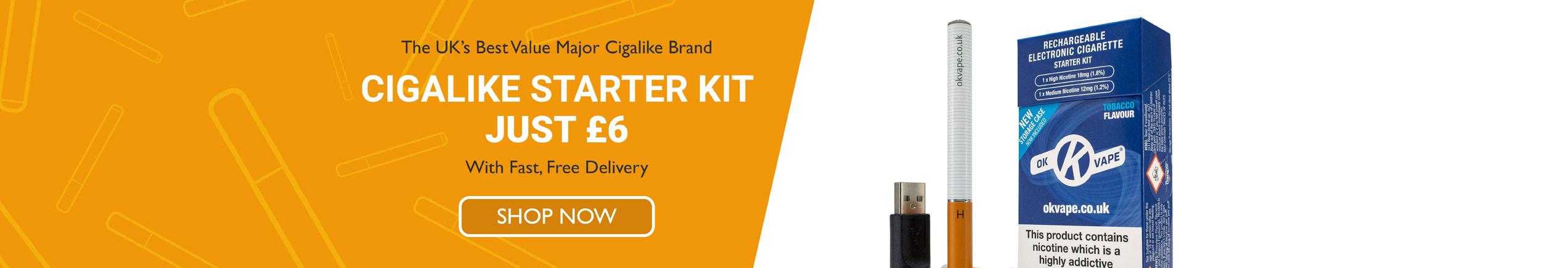 Homepage slider image - The UK's best major cigalike brand - Cigalike Starter Kit just £6 with fast free delivery