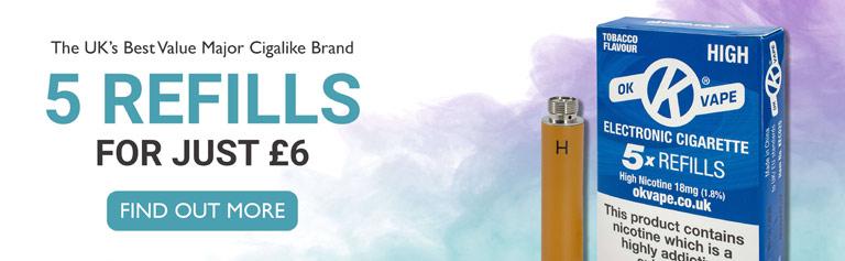 Mobile Homepage slider image - The UK's best value major cigalike brand - 5 Refills for just £6