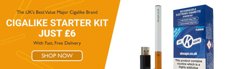 Mobile Homepage slider image - The UK's best major cigalike brand - Cigalike Starter Kit just £6 with fast free delivery