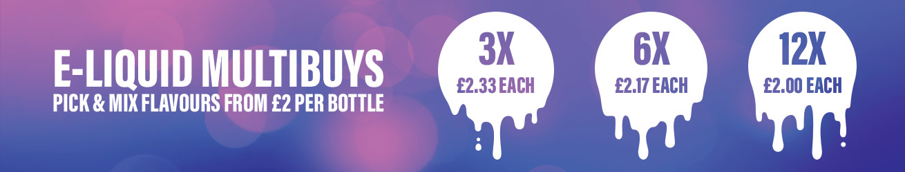 E liquid Multibuy desktop banner. Pick and mix flavours for as low as £2