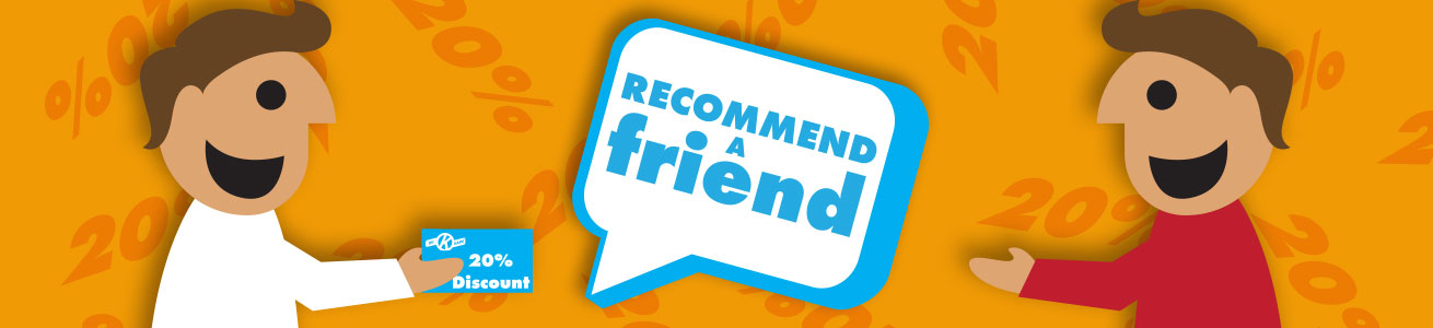 Recommend a friend for 20% discount header