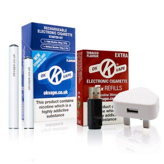 OK Cigalike Starter Kit Bundle - Tobacco Flavour